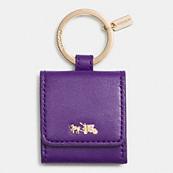 COACH HORSE AND CARRIAGE KEY RING - LIGHT GOLD/VIOLET - F63161