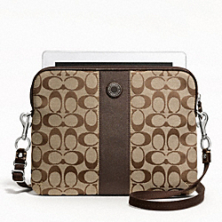 SIGNATURE STRIPE TABLET CROSSBODY - f63219 - SILVER/KHAKI/MAHOGANY