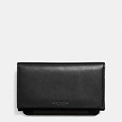 COACH BIFOLD PHONE CASE IN SPORT CALF LEATHER - BLACK - F63224