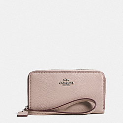 COACH CROSSGRAIN LEATHER ZIP CASE - SILVER/GREY BIRCH - F63257
