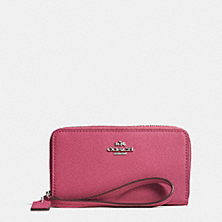 COACH CROSSGRAIN LEATHER ZIP CASE - SILVER/SUNSET RED - F63257