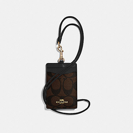 COACH ID LANYARD IN SIGNATURE CANVAS - BROWN/BLACK/light gold - f63274