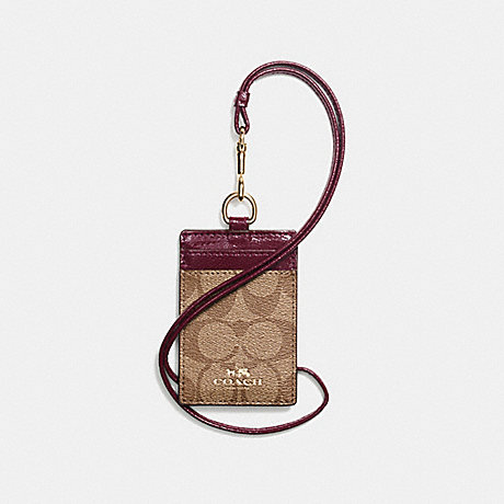 COACH SIGNATURE LANYARD ID CASE - IMITATION GOLD/KHAKI/SHERRY - f63274