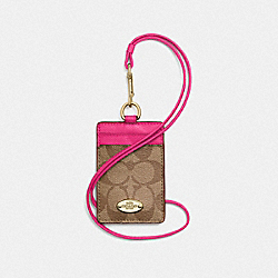 LANYARD ID CASE IN SIGNATURE CANVAS - LIGHT GOLD/KHAKI/PINK RUBY - COACH F63274