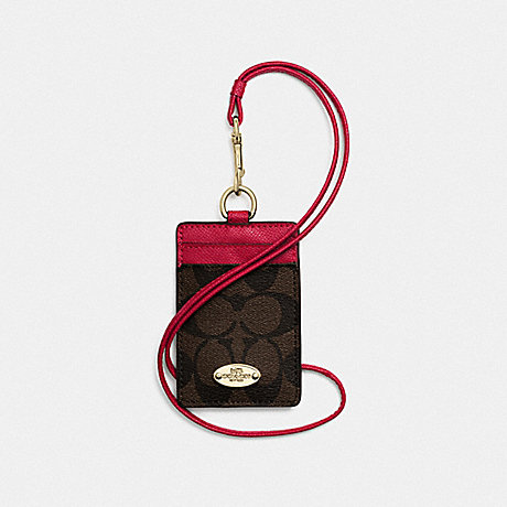 COACH SIGNATURE LANYARD ID CASE - IMITATION GOLD/BROWN TRUE RED - f63274