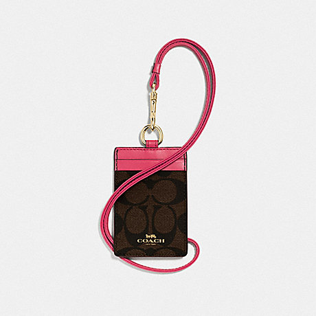 COACH ID LANYARD IN SIGNATURE CANVAS - BROWN/STRAWBERRY/IMITATION GOLD - F63274