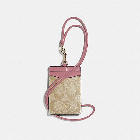 COACH ID LANYARD IN SIGNATURE CANVAS - light khaki/vintage pink/imitation gold - f63274