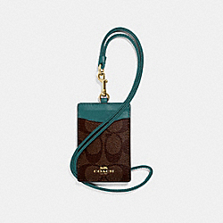 COACH ID LANYARD IN SIGNATURE CANVAS - IM/BROWN DARK TURQUOISE - F63274
