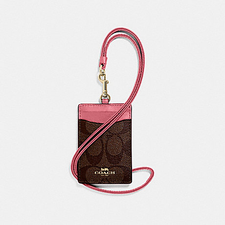 COACH ID LANYARD IN SIGNATURE CANVAS - BROWN/PEONY/LIGHT GOLD - F63274