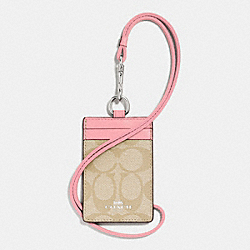 ID LANYARD CASE IN SIGNATURE COATED CANVAS - f63274 - SILVER/LIGHT KHAKI/BLUSH