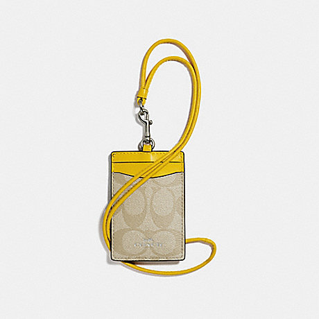 COACH ID LANYARD IN SIGNATURE CANVAS - LIGHT KHAKI/CANARY/SILVER - f63274