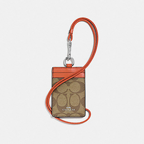 COACH ID LANYARD IN SIGNATURE CANVAS - KHAKI/ORANGE RED/SILVER - f63274