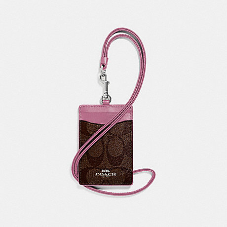 COACH ID LANYARD IN SIGNATURE CANVAS - brown/Azalea/silver - f63274
