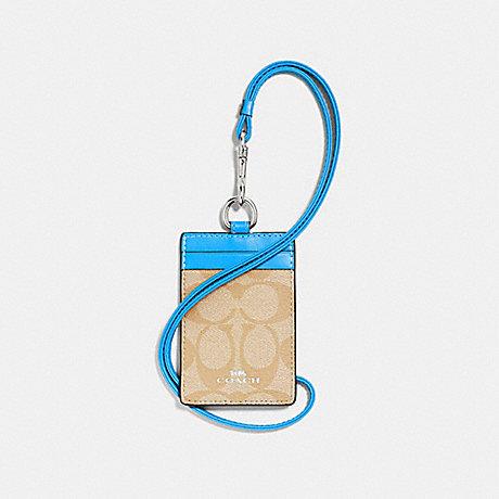 COACH ID LANYARD IN SIGNATURE CANVAS - light khaki/bright blue/silver - f63274