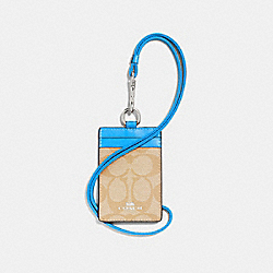 ID LANYARD IN SIGNATURE CANVAS - LIGHT KHAKI/BRIGHT BLUE/SILVER - COACH F63274