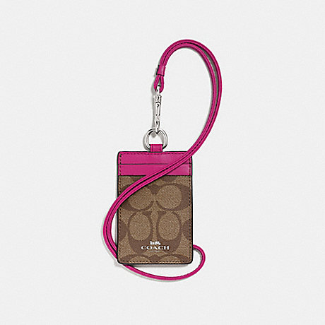 COACH ID LANYARD IN SIGNATURE CANVAS - KHAKI/CERISE/SILVER - F63274