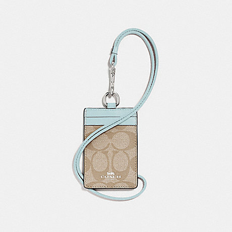 COACH ID LANYARD IN SIGNATURE CANVAS - LIGHT KHAKI/SEAFOAM/SILVER - F63274