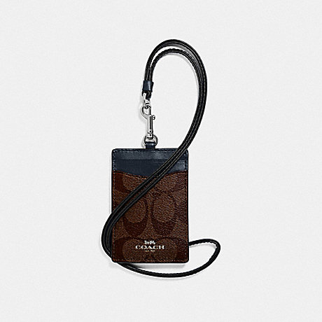 COACH ID LANYARD IN SIGNATURE CANVAS - SV/BROWN MIDNIGHT - F63274