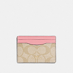 CARD CASE IN SIGNATURE CANVAS - LIGHT KHAKI/PEONY/LIGHT GOLD - COACH F63279