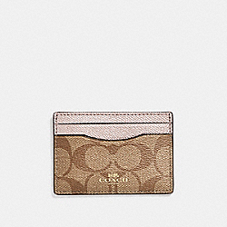 COACH CARD CASE IN SIGNATURE COATED CANVAS - LIGHT GOLD/KHAKI - F63279