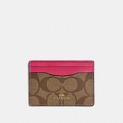 COACH CARD CASE IN SIGNATURE - IMITATION GOLD/KHAKI BRIGHT PINK - F63279