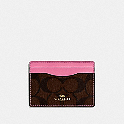 COACH CARD CASE IN SIGNATURE CANVAS - BROWN /PINK/LIGHT GOLD - F63279