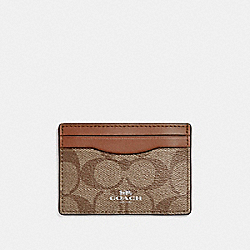 COACH CARD CASE IN SIGNATURE CANVAS - KHAKI/SADDLE 2/LIGHT GOLD - F63279