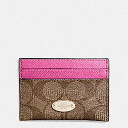 COACH CARD CASE IN SIGNATURE - IMITATION GOLD/KHAKI/DAHLIA - F63279