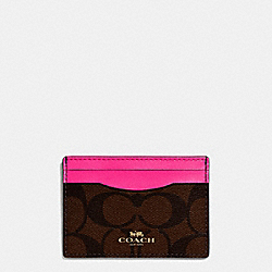 COACH CARD CASE IN SIGNATURE COATED CANVAS - IMITATION GOLD/BROWN - F63279