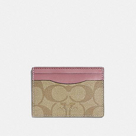 COACH CARD CASE - light khaki/vintage pink/imitation gold - f63279