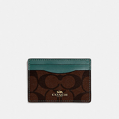 COACH CARD CASE IN SIGNATURE CANVAS - BROWN/DARK TURQUOISE/LIGHT GOLD - F63279