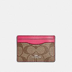 CARD CASE - SILVER/KHAKI/MAGENTA - COACH F63279