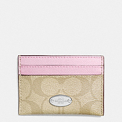 COACH CARD CASE IN SIGNATURE CANVAS - SILVER/LIGHT KHAKI/PETAL - F63279