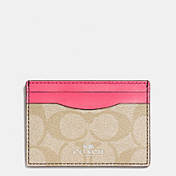COACH CARD CASE IN SIGNATURE - SILVER/LIGHT KHAKI/STRAWBERRY - F63279