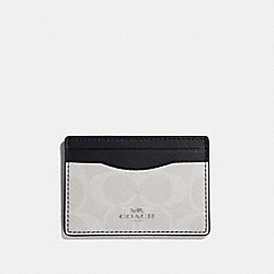 COACH CARD CASE IN SIGNATURE CANVAS - chalk/midnight/silver - F63279