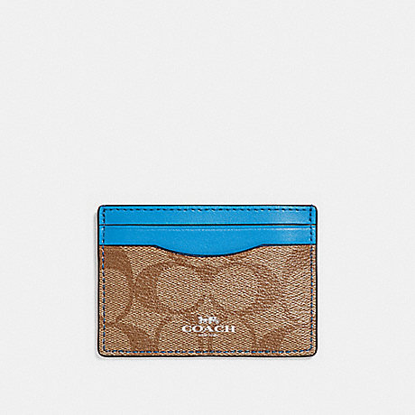 COACH CARD CASE IN SIGNATURE CANVAS - KHAKI/BRIGHT BLUE/SILVER - F63279