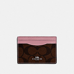 COACH CARD CASE IN SIGNATURE CANVAS - BROWN/DUSTY ROSE/SILVER - F63279