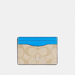 COACH CARD CASE IN SIGNATURE CANVAS - light khaki/bright blue/silver - F63279