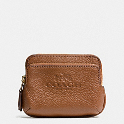 COACH PEBBLE LEATHER DOUBLE ZIP COIN WALLET - LIGHT GOLD/SADDLE - F63314