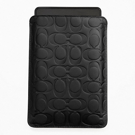 COACH SIGNATURE EMBOSSED E-READER SLEEVE - BLACK - f63316