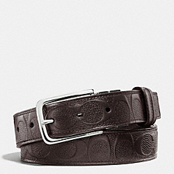 COACH DRESS WESTON CUT-TO-SIZE SIGNATURE C CROSSGRAIN LEATHER REVERSIBLE BELT - MAHOGANY/MAHOGANY - F63333