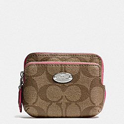 COACH DOUBLE ZIP COIN WALLET IN SIGNATURE CANVAS - SILVER/KHAKI/SUNSET RED - F63338
