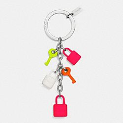COACH C.O.A.C.H. MULTI LOCK AND KEY CHARM KEY RING - MULTICOLOR - F63340