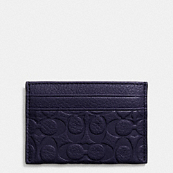 COACH SIGNATURE EMBOSSED PEBBLE LEATHER CARD CASE - LIGHT GOLD/MIDNIGHT - F63357