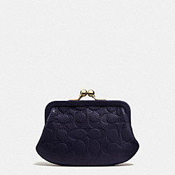 COACH SIGNATURE EMBOSSED PEBBLE LEATHER FRAMED COIN PURSE - LIGHT GOLD/MIDNIGHT - F63358