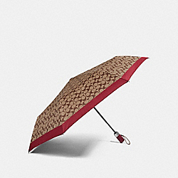 SIGNATURE UMBRELLA - SILVER/KHAKI/RED - COACH F63364