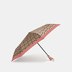 SIGNATURE UMBRELLA - CORAL/LIGHT KHAKI/SILVER - COACH F63364