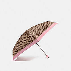 SIGNATURE MINI UMBRELLA - SILVER/KHAKI/BLUSH - COACH F63365