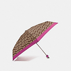 SIGNATURE MINI UMBRELLA - SILVER/KHAKI/MAGENTA - COACH F63365