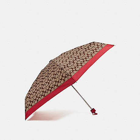 COACH SIGNATURE MINI UMBRELLA - SILVER/KHAKI/RED - f63365